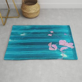blue wooden wall pink jasmine minimal Rug