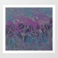 blue stone space geometry Art Print