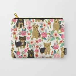 Yorkshire Terrier cute florals must have gifts for dog lover yorkie owners delight secret gifts art Carry-All Pouch