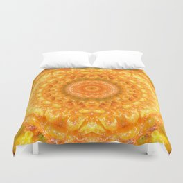 Orange Habanero Hot Peppers Mandala Fractal Design Duvet Cover