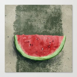 Slice of watermelon on dirty grunge green background. Canvas Print