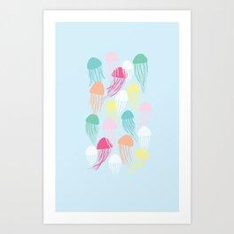 Rainbow Jellies Art Print