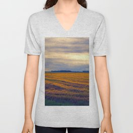 cultivated field in autumn season Unisex V-Neck