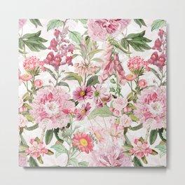 Vintage & Shabby Chic - Botanical Pink Springflowers Meadow Metal Print