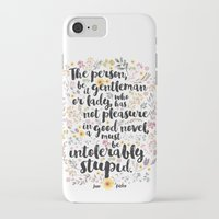 jane austen iPhone & iPod Cases featuring Jane Austen - Intolerably Stupid  by Evie Seo