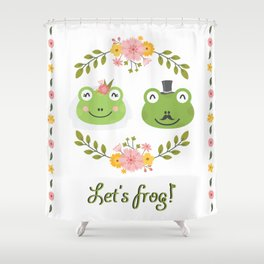 Let's frog! Funny animals couple Shower Curtain