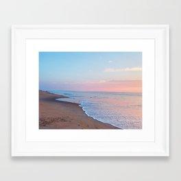 Pink ocean sunrise - minimalist landscape photography   Rehoboth Beach, DE Framed Art Print