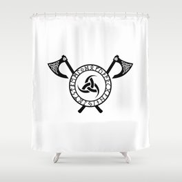 Norse Axe - Triple Horn of Odin Shower Curtain