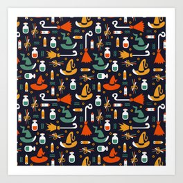 Happy halloween brooms, potions, witch hats and fingers pattern Art Print