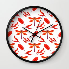 Pretty beautiful red dragonflies, leaves elegant classy stylish white nature spring pattern Wall Clock