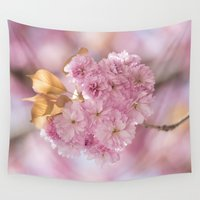 japanese Wall Tapestries featuring Japanese cherryblossoms in LOVE by UtArt