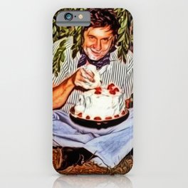 Eating Cake in a Bush with Johnny Cash Portrait Painting by Jeanpaul Ferro iPhone Case