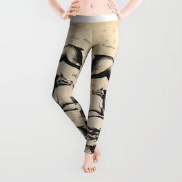 Vintage Deer Illustration Leggings