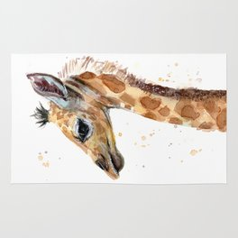 Giraffe Watercolor Cute Baby Animals Whimsical Art Rug
