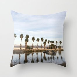 California Lake Lined Palm Tree Photograph Throw Pillow