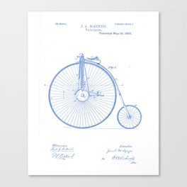 Velocipede Vintage Patent Hand Drawing Canvas Print