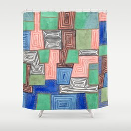 Complex Pattern with Golden Lines Shower Curtain