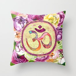Golden OM symbol on Pastel Watercolor pattern Throw Pillow