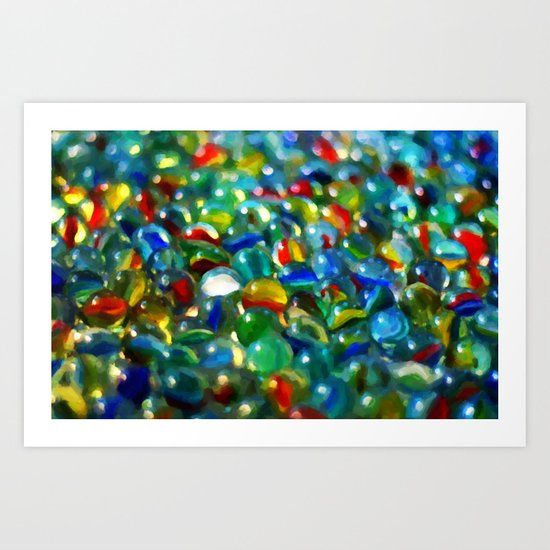 Marbles... Lost & Found - Painting Style Art Print