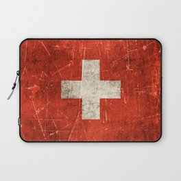 Vintage Aged and Scratched Swiss Flag Laptop Sleeve