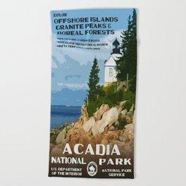 Vintage poster - Acadia National Park Beach Towel