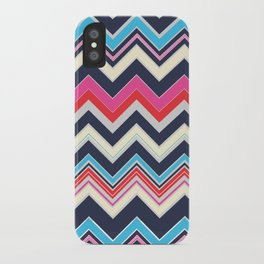 Navy Pink Chevron iPhone Case