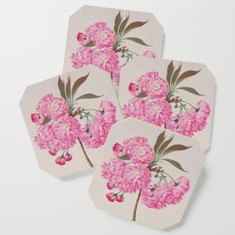 Barrier Mountain Cherry Blossoms Watercolor Coaster