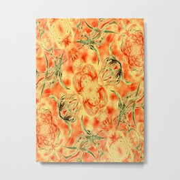 Yellow and Orange Floral Pattern Metal Print