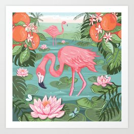 Flamingo and Waterlily Art Print