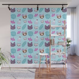 Pirate Cat // Turquoise Wall Mural
