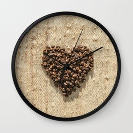 Heart shaped coffee beans Wall Clock