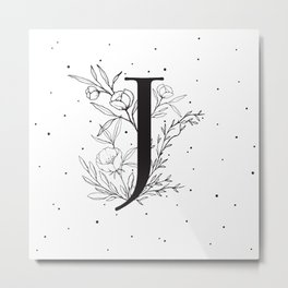 Black Letter J Monogram / Initial Botanical Illustration Metal Print