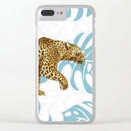 LEOPARD AND LEAVES Clear iPhone Case