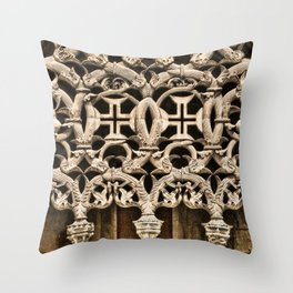 Gothic tracery at Batalha, Portugal, with the Knights Templar cross Throw Pillow