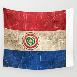 Vintage Aged and Scratched Paraguay Flag Wall Tapestry