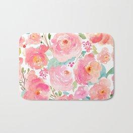 Watercolor Peonies Summer Bouquet Bath Mat