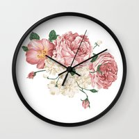wwe Wall Clocks featuring Watercolor rose by eARTh
