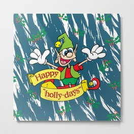 "Happy ""Holly-days"" Metal Print"