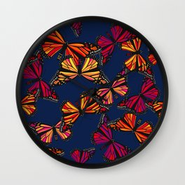 Hot Monarchs on Navy Wall Clock