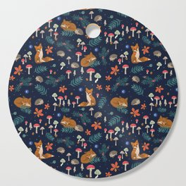 Fox and Hedgehog in Toadstool Woods In Blue Cutting Board