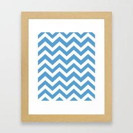 Carolina blue - blue color - Zigzag Chevron Pattern Framed Art Print