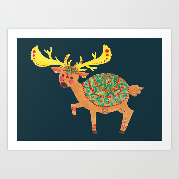 The Ethnic Deer Art Print