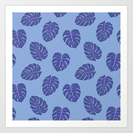 Monstera trendy - purple Art Print