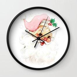 pink retro vintage santa Wall Clock