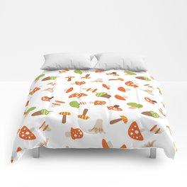 Artistic hand painted orange green autumn mushroom pattern Comforters