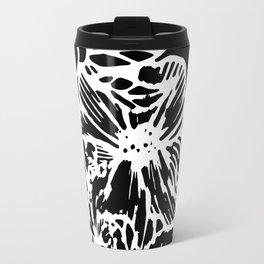 White Linocut Flowery Wreath On Black Travel Mug