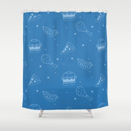 Fast Food Snacks Attack - Pizza Pie Hot Dogs Chicken Wings! on Blue Shower Curtain