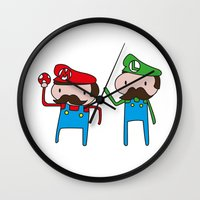 mario bros Wall Clocks featuring Mario Bros. by Justin Temporal