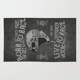 Born to Race Motorcycle Vintage Chalkboard Poster Rug