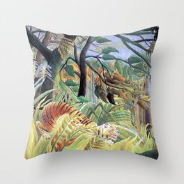 Tiger in a Tropical Storm (Surprised!) by Henri Rousseau 1891 // Jungle Rain Stormy Weather Scene Throw Pillow